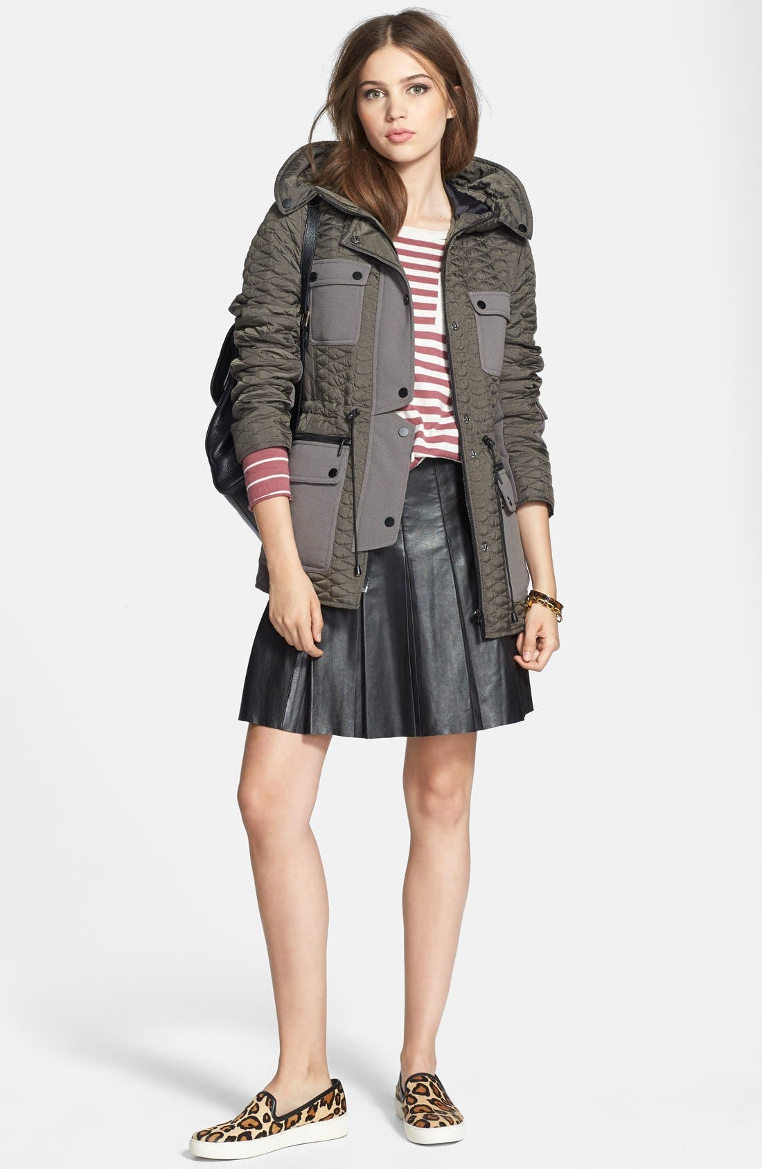 Hooded Quilted Parka,                             Alternate thumbnail 5, color,                             Smoke