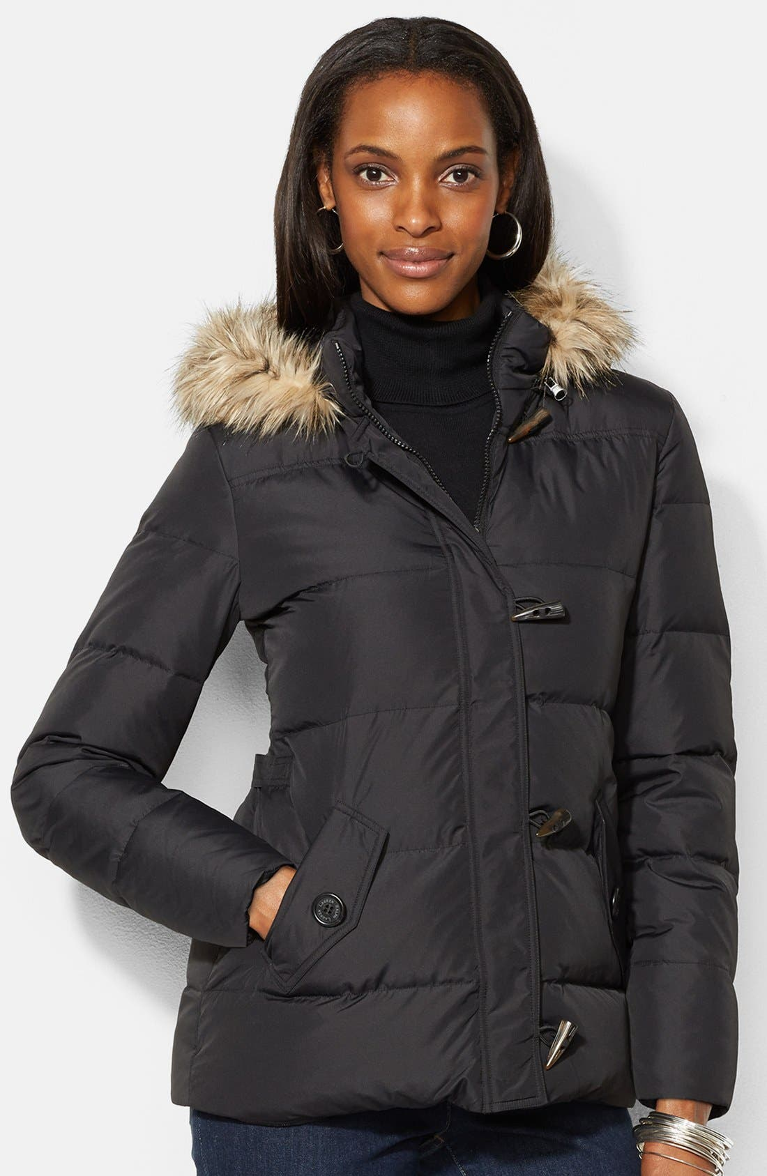 Main Image - Lauren Ralph Lauren Detachable Faux Fur Trim Hood Toggle Parka (Online Only)