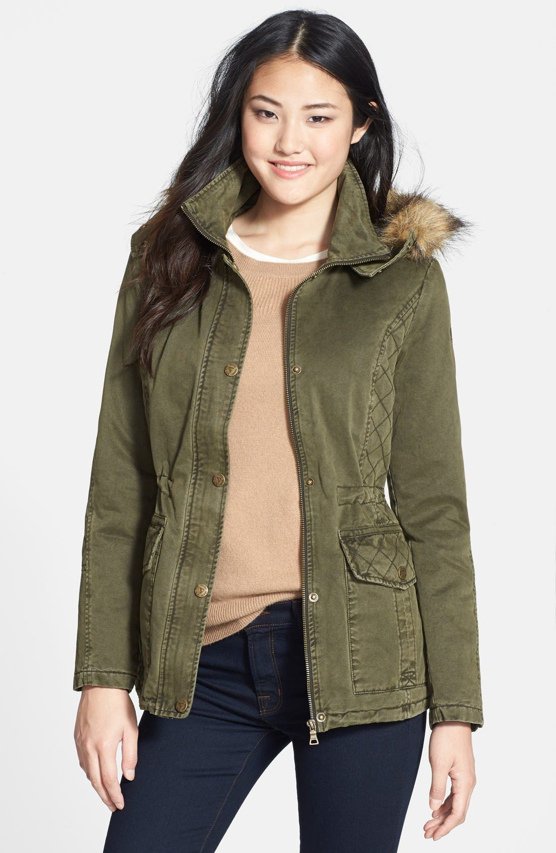 Alternate Image 1 Selected - GUESS Faux Fur Trim Quilted Cotton Anorak (Online Only)