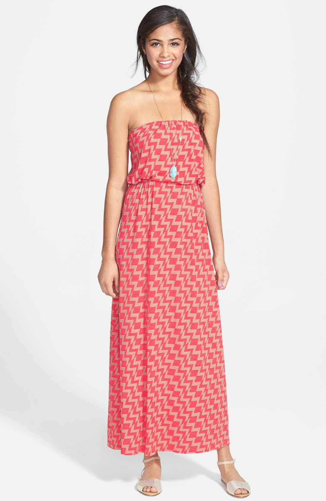Main Image - Trixxi Zigzag Print Strapless Maxi Dress (Juniors)