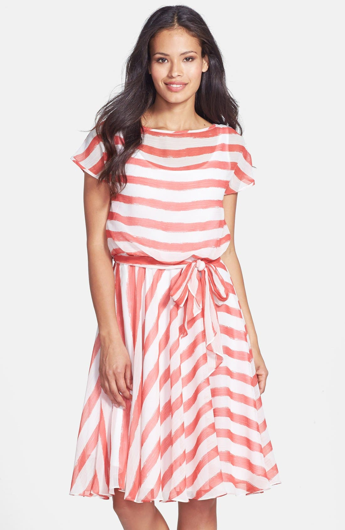 Main Image - Isaac Mizrahi New York Belted Stripe Chiffon Dress