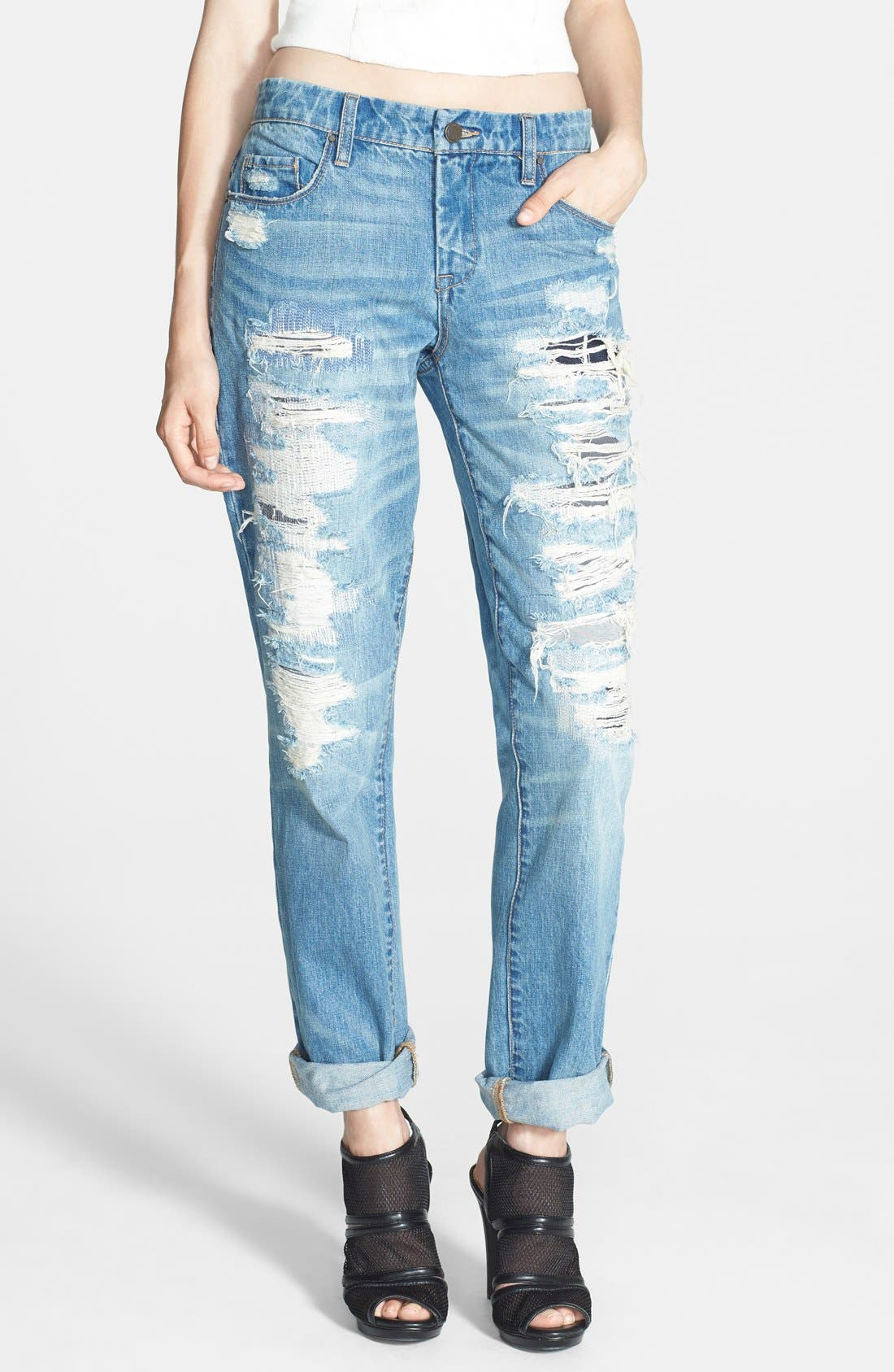 Alternate Image 1 Selected - BLANKNYC Destroyed Boyfriend Jeans (Torn to Shreds)