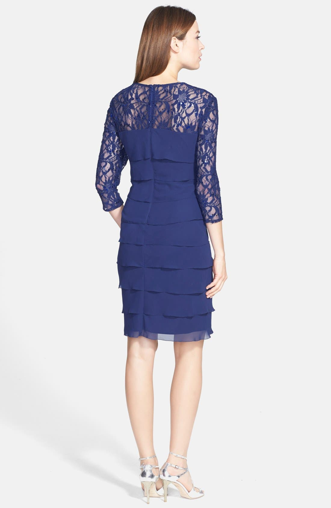 Alternate Image 2  - Alex Evenings Tiered Chiffon & Lace Sheath Dress (Regular & Petite)