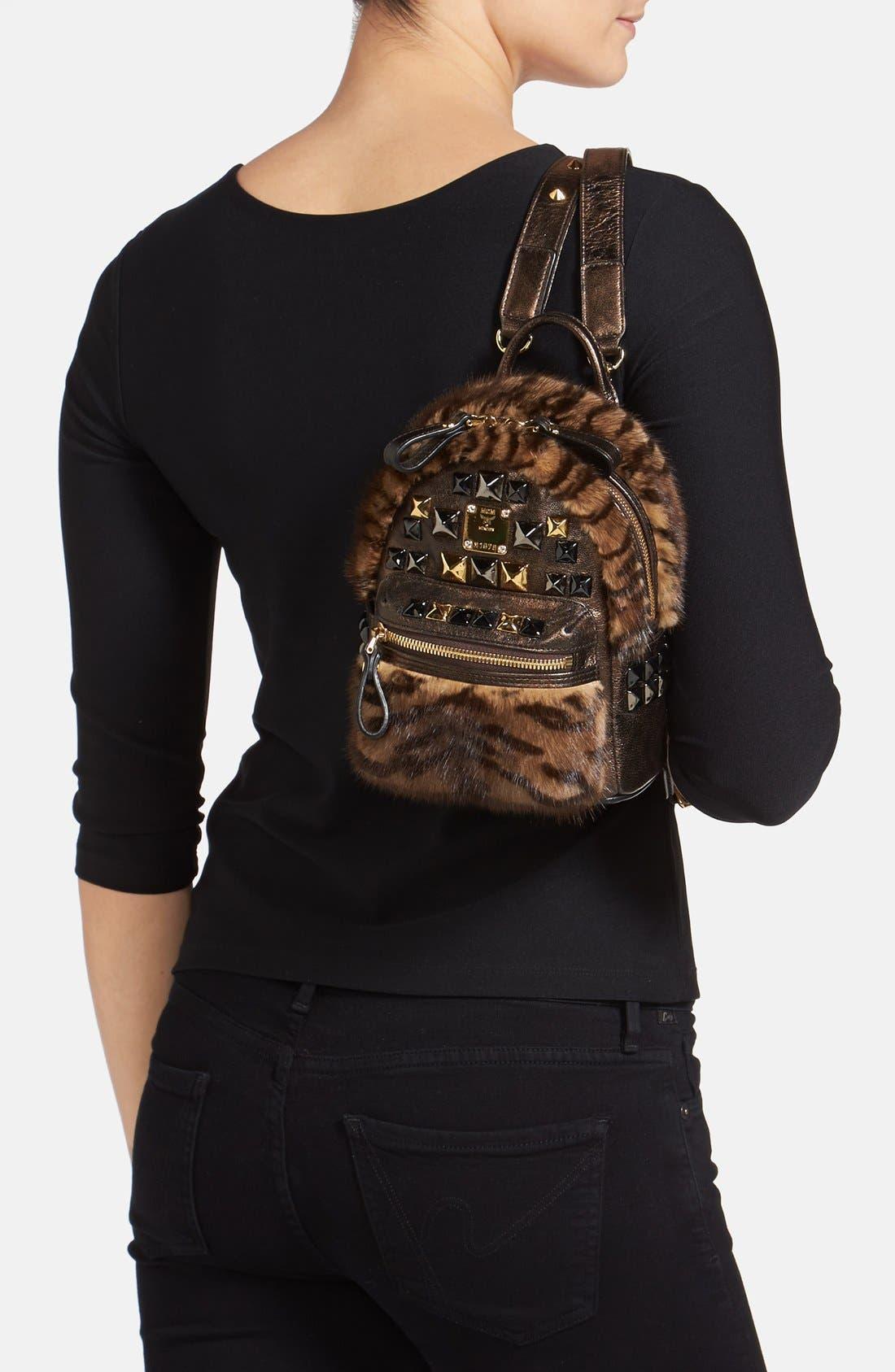Alternate Image 2  - MCM 'Xmini' Metallic Goatskin & Genuine Mink Fur Convertible Backpack