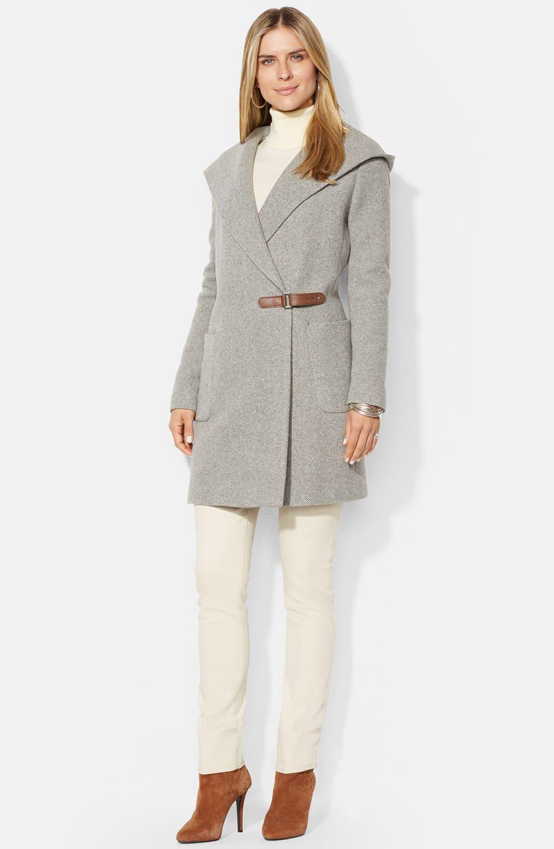 Main Image - Lauren Ralph Lauren Hooded Drape Front Herringbone Coat
