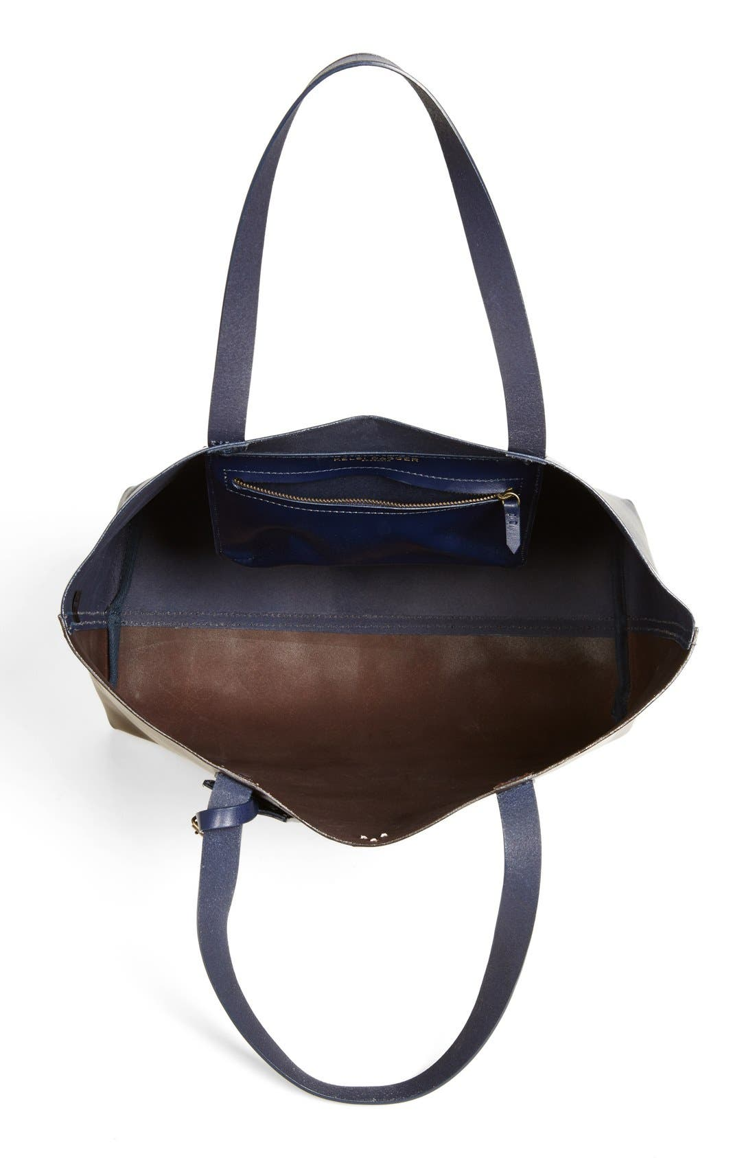 'Commuter' Leather Tote,                             Alternate thumbnail 3, color,                             Chocolate Multi