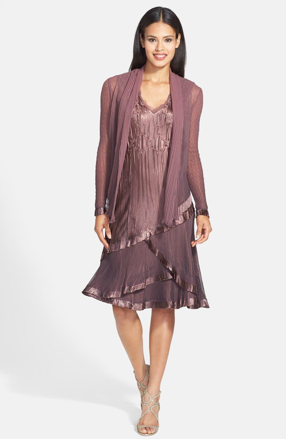 Alternate Image 1 Selected - Komarov Charmeuse A-Line Dress & Chiffon Jacket