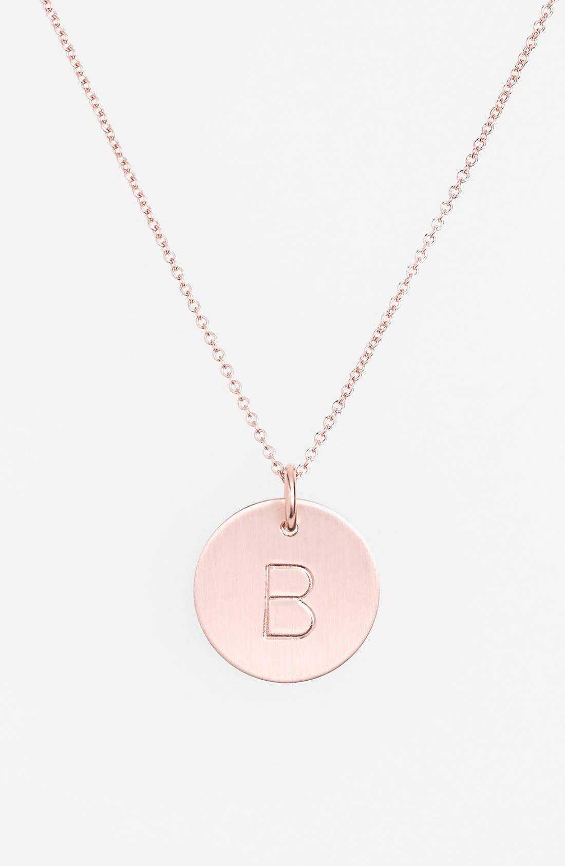 14k-Rose Gold Fill Initial Disc Necklace,                         Main,                         color, 14K Rose Gold Fill B