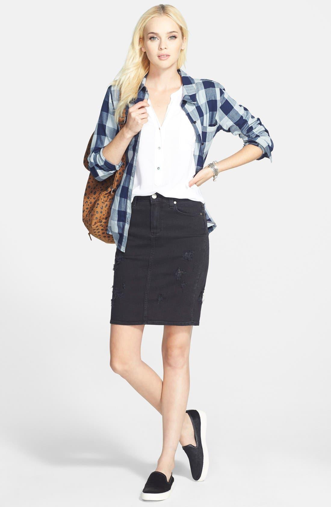 Alternate Image 4  - Paige Denim 'Deirdre' Destroyed Denim Pencil Skirt (Ramone Destructed)