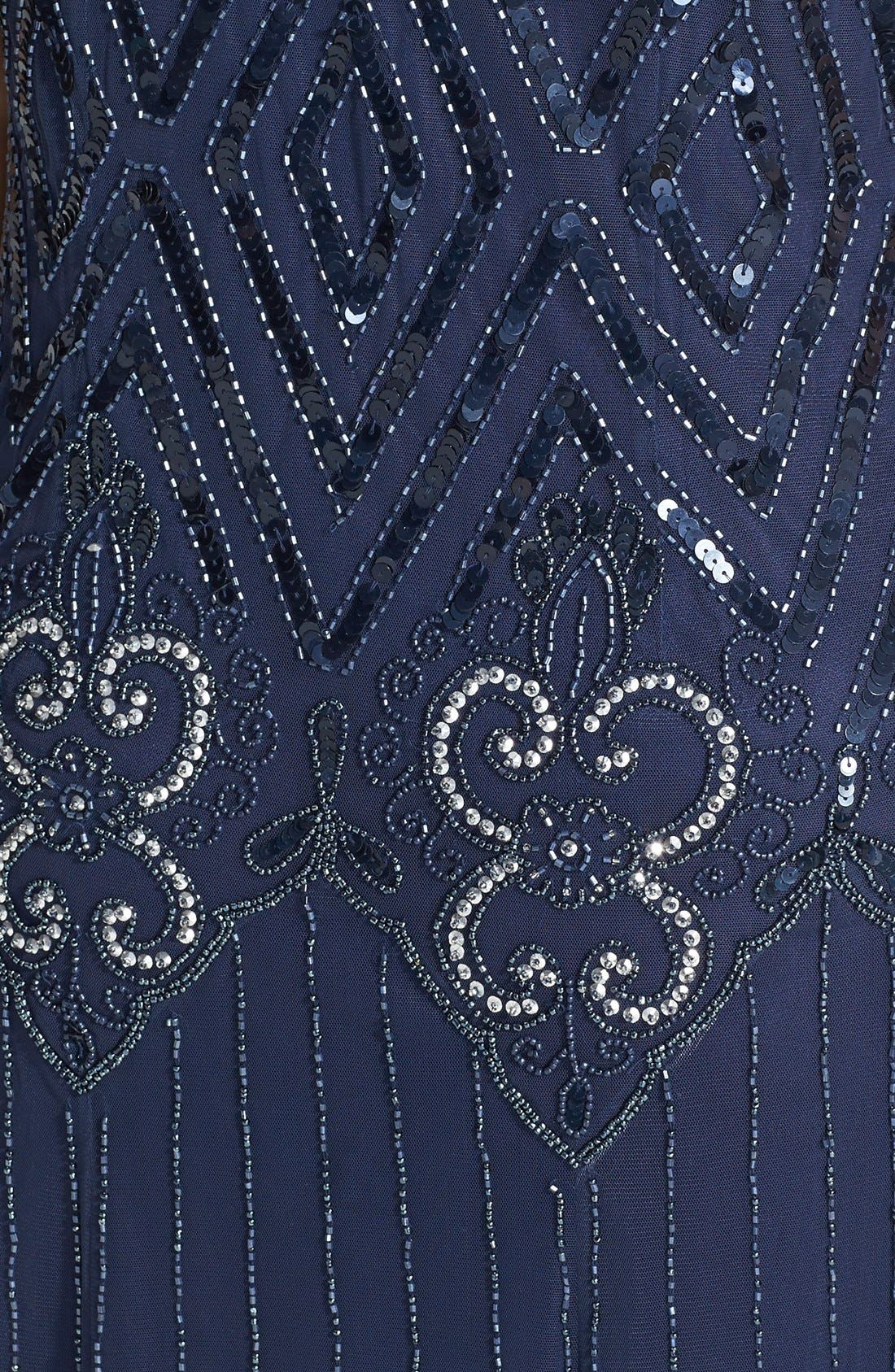 Beaded Chiffon Gown,                             Alternate thumbnail 3, color,                             Navy
