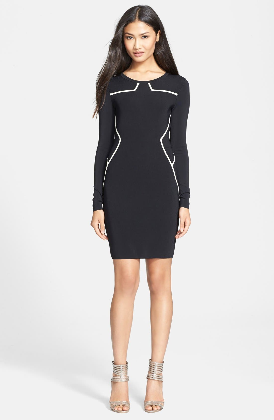 'Josephine' Knit Long Sleeve Sheath Dress,                             Main thumbnail 1, color,                             Black/Ivory