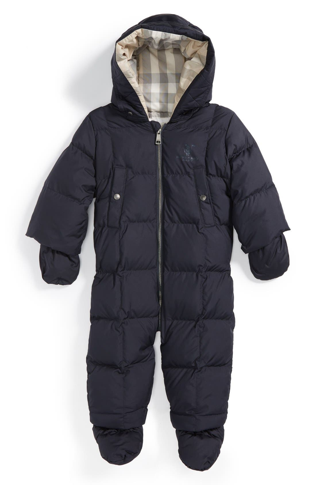 Main Image - Burberry Quilted Down Snowsuit (Baby)