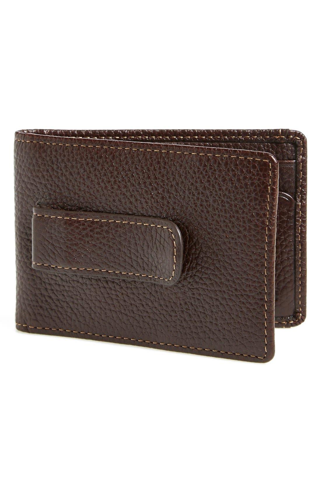 'Tyler' Money Clip Wallet,                             Main thumbnail 1, color,                             Coffee
