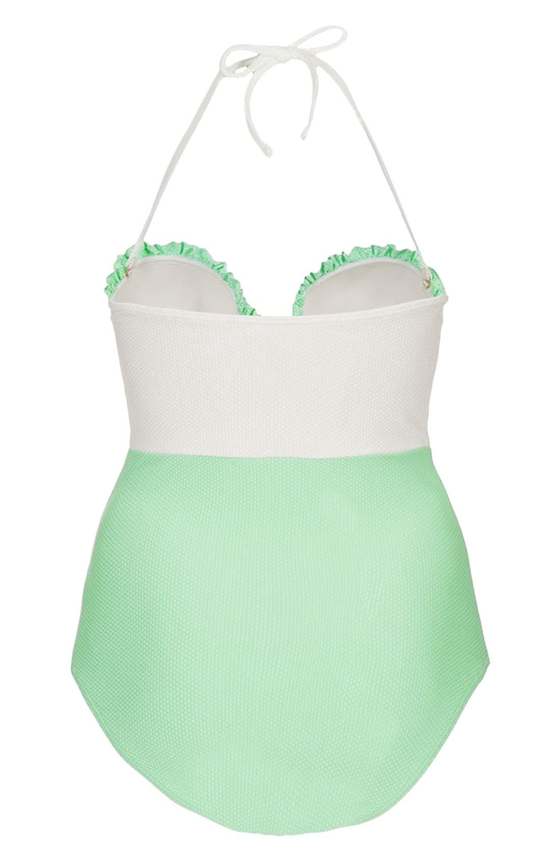 Alternate Image 2  - Topshop Colorblock One-Piece Swimsuit