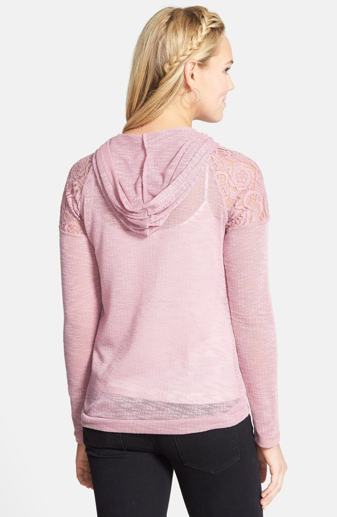 Alternate Image 2  - Love on a Hanger Lace Detail Hoodie (Juniors)