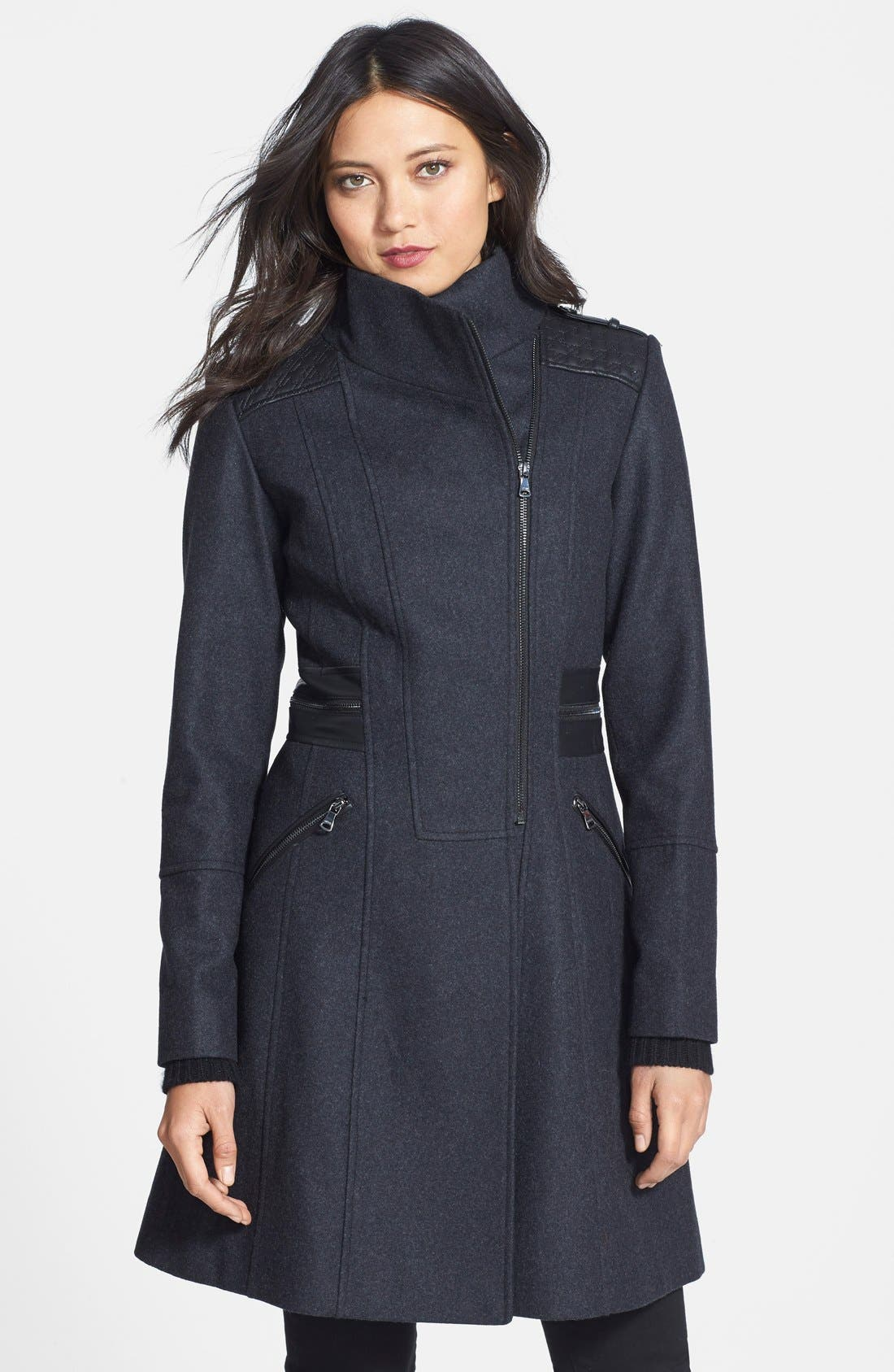 Main Image - GUESS Faux Leather Trim Stand Collar Wool Blend Coat
