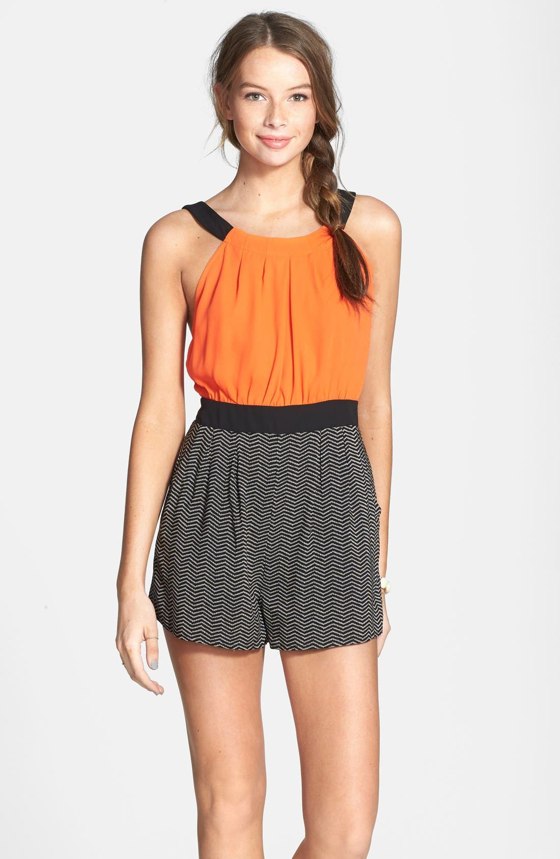 Alternate Image 1 Selected - Hommage Color Block Romper (Juniors)