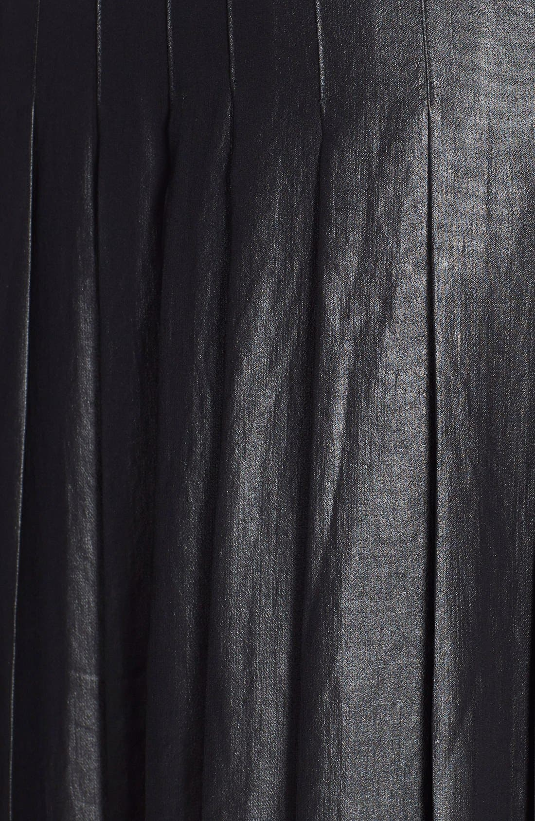Pleat Midi Skirt,                             Alternate thumbnail 3, color,                             Coated Black