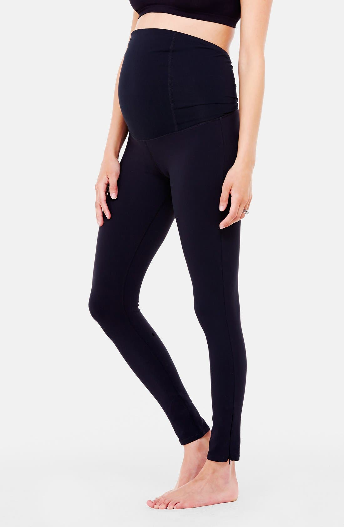 'Active' Maternity Leggings with Crossover Panel,                             Alternate thumbnail 3, color,                             Jet Black