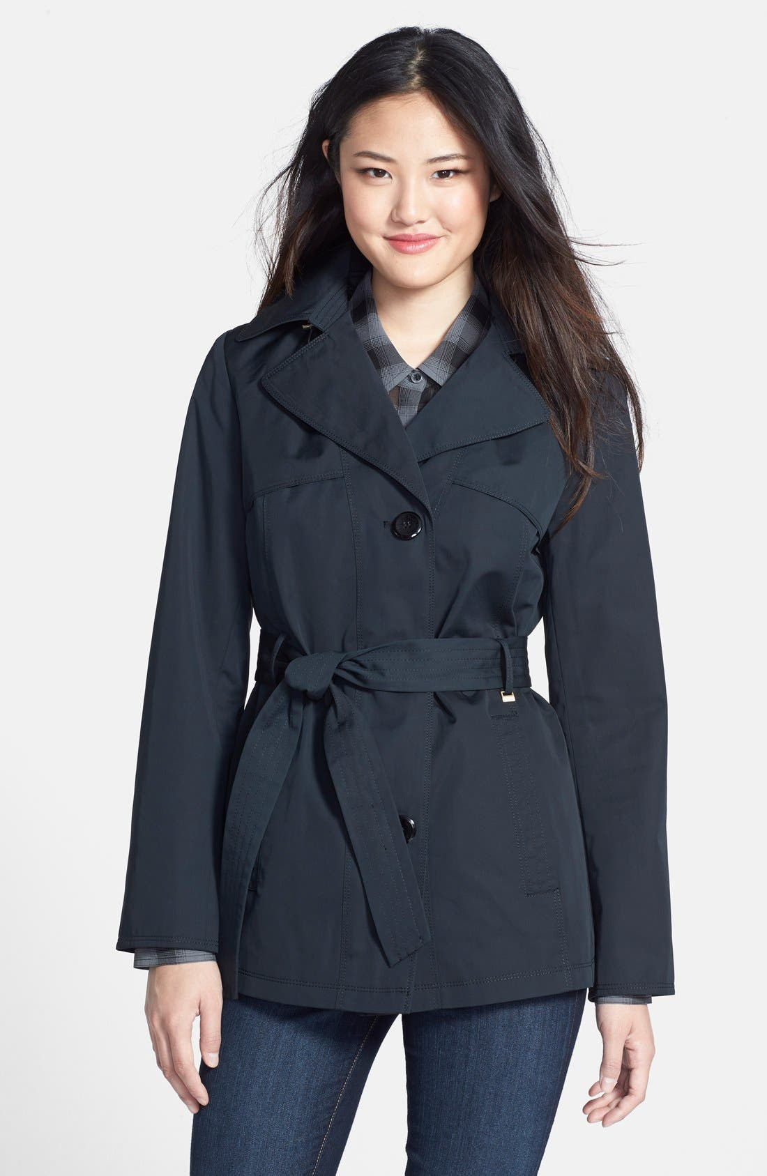 Belted Mini Trench Coat with Detachable Hood,                         Main,                         color, Black