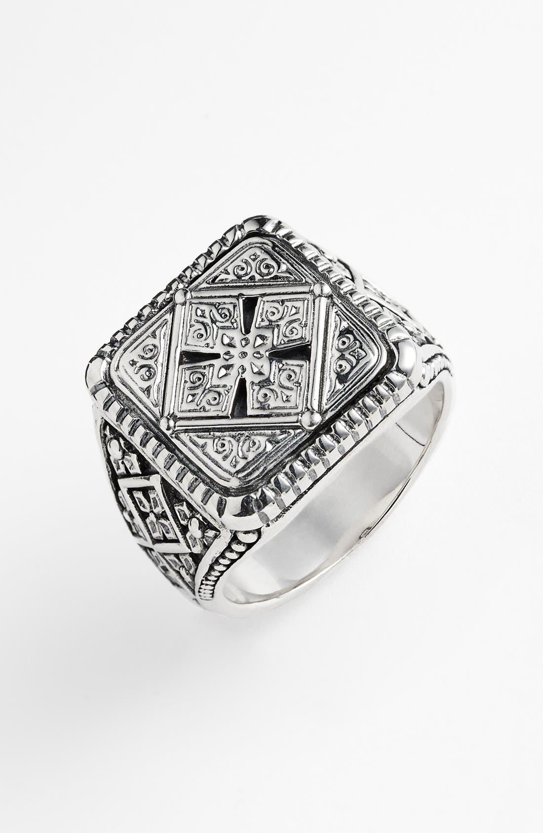 'Classics' Cross Square Ring,                         Main,                         color, Silver