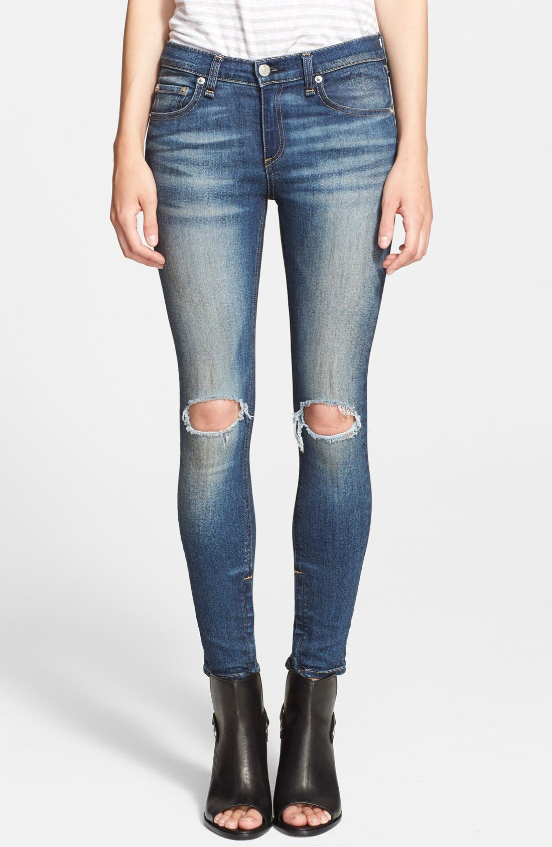 Main Image - rag & bone/JEAN Destroyed Skinny Ankle Jeans (Pacifico)