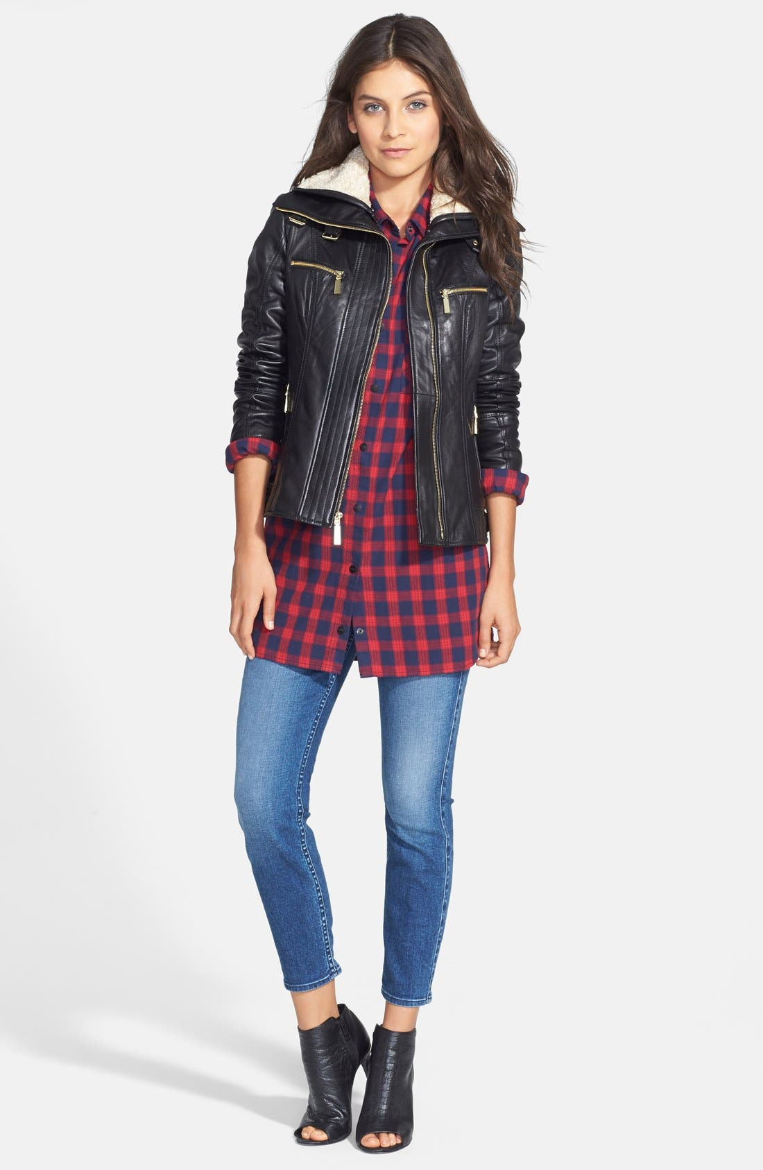 Alternate Image 3  - Vince Camuto Faux Shearling Trim Lambskin Leather Jacket