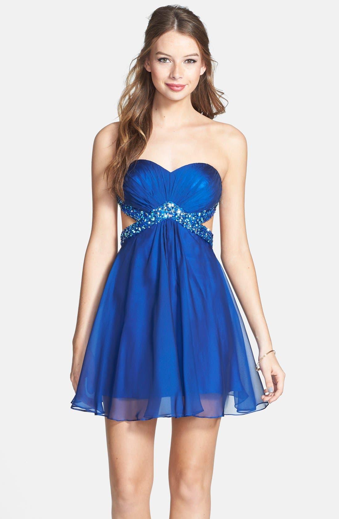 Main Image - La Femme Embellished Cutout Chiffon Fit & Flare Dress