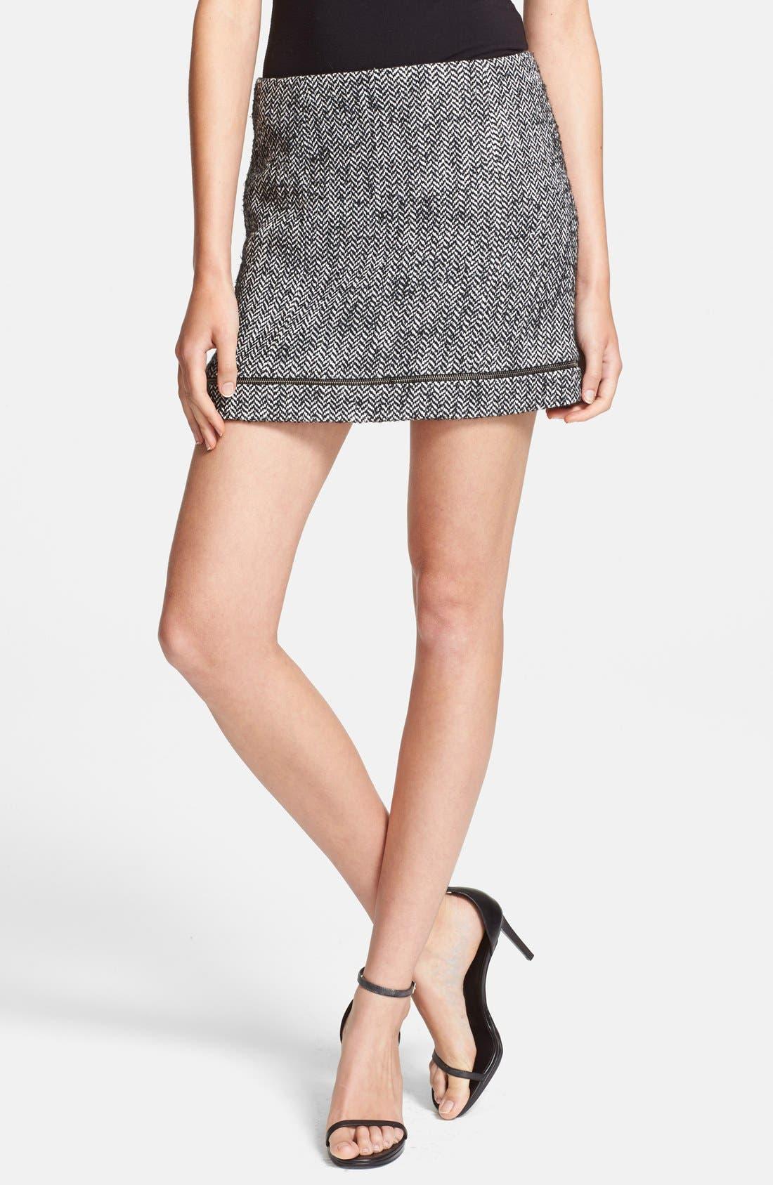 'Nell' Tweed Miniskirt,                         Main,                         color, Black/ White