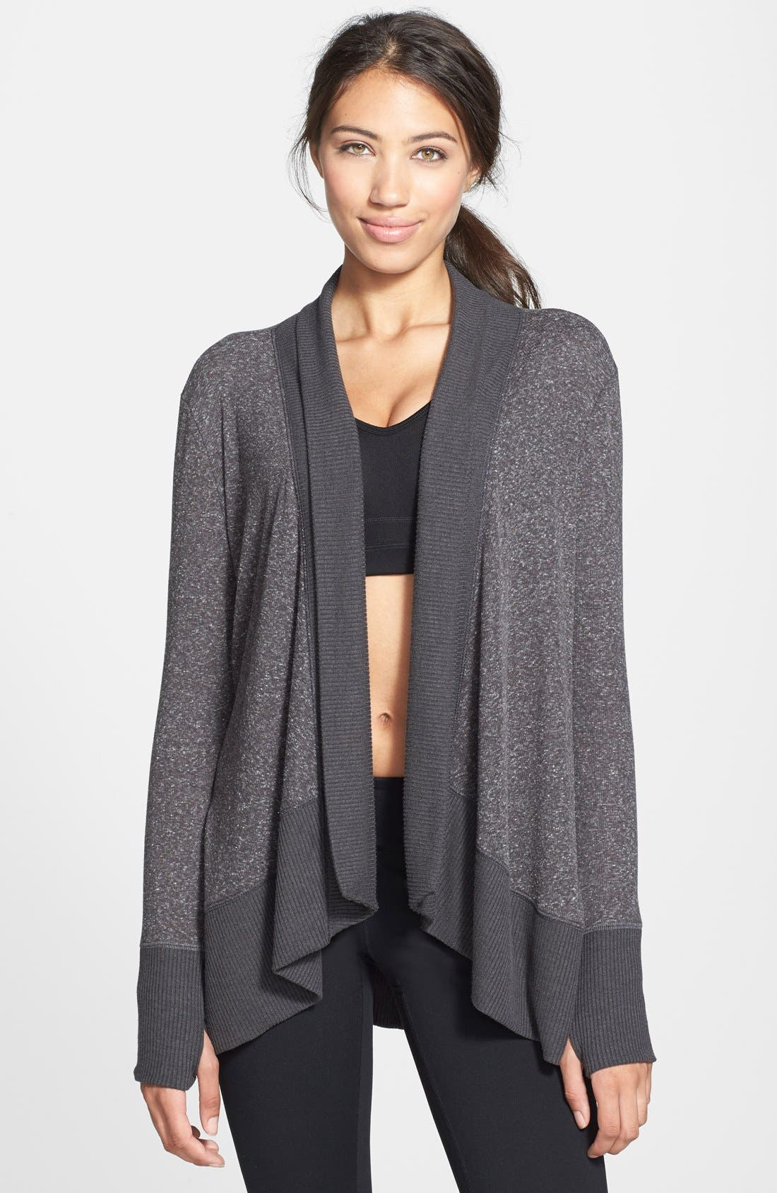 Open Front Cardigan,                         Main,                         color, Charcoal Grey