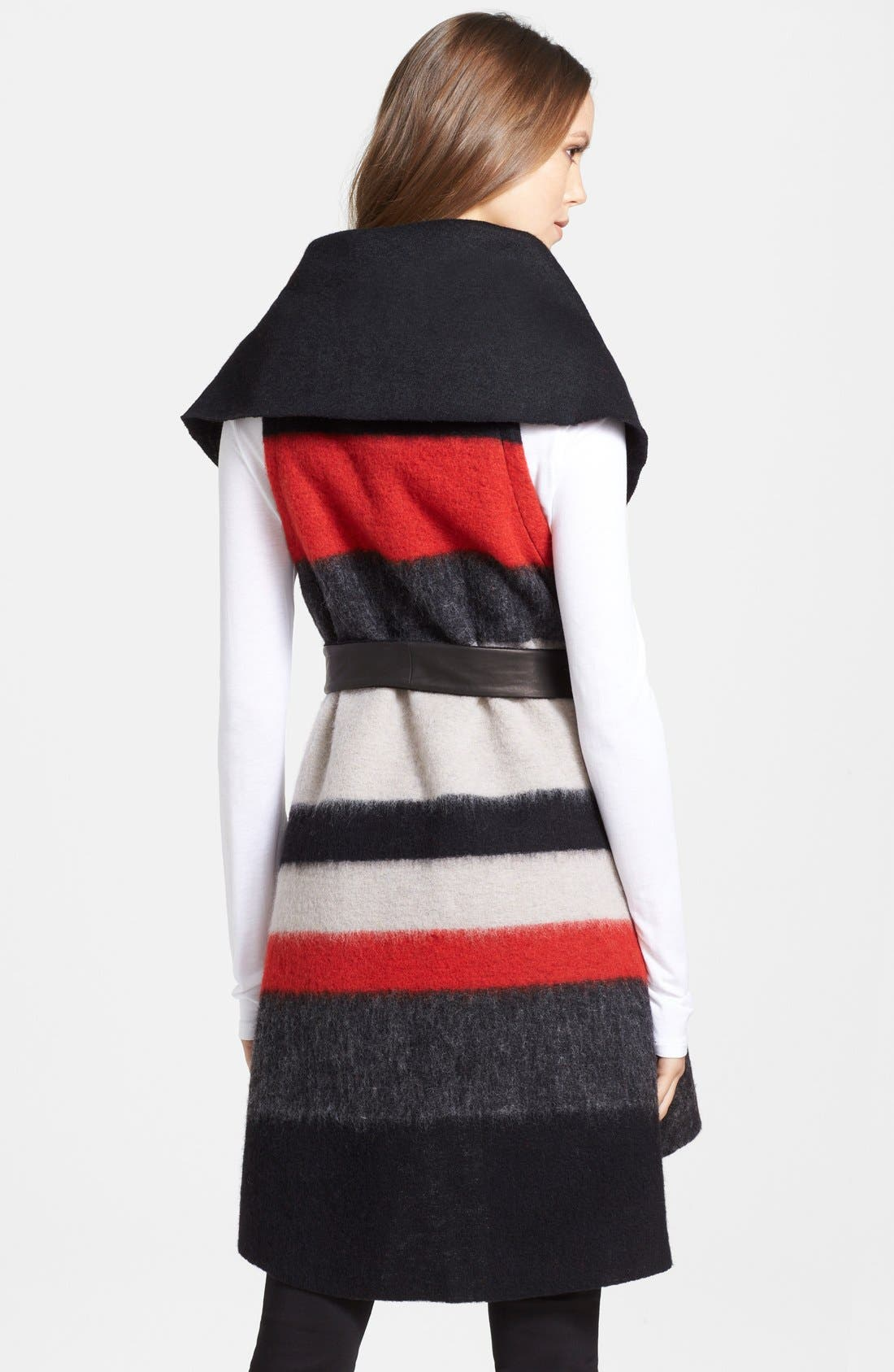 Alternate Image 2  - Alice + Olivia 'Keira' Sleeveless Wool Blend Wrap with Leather Belt