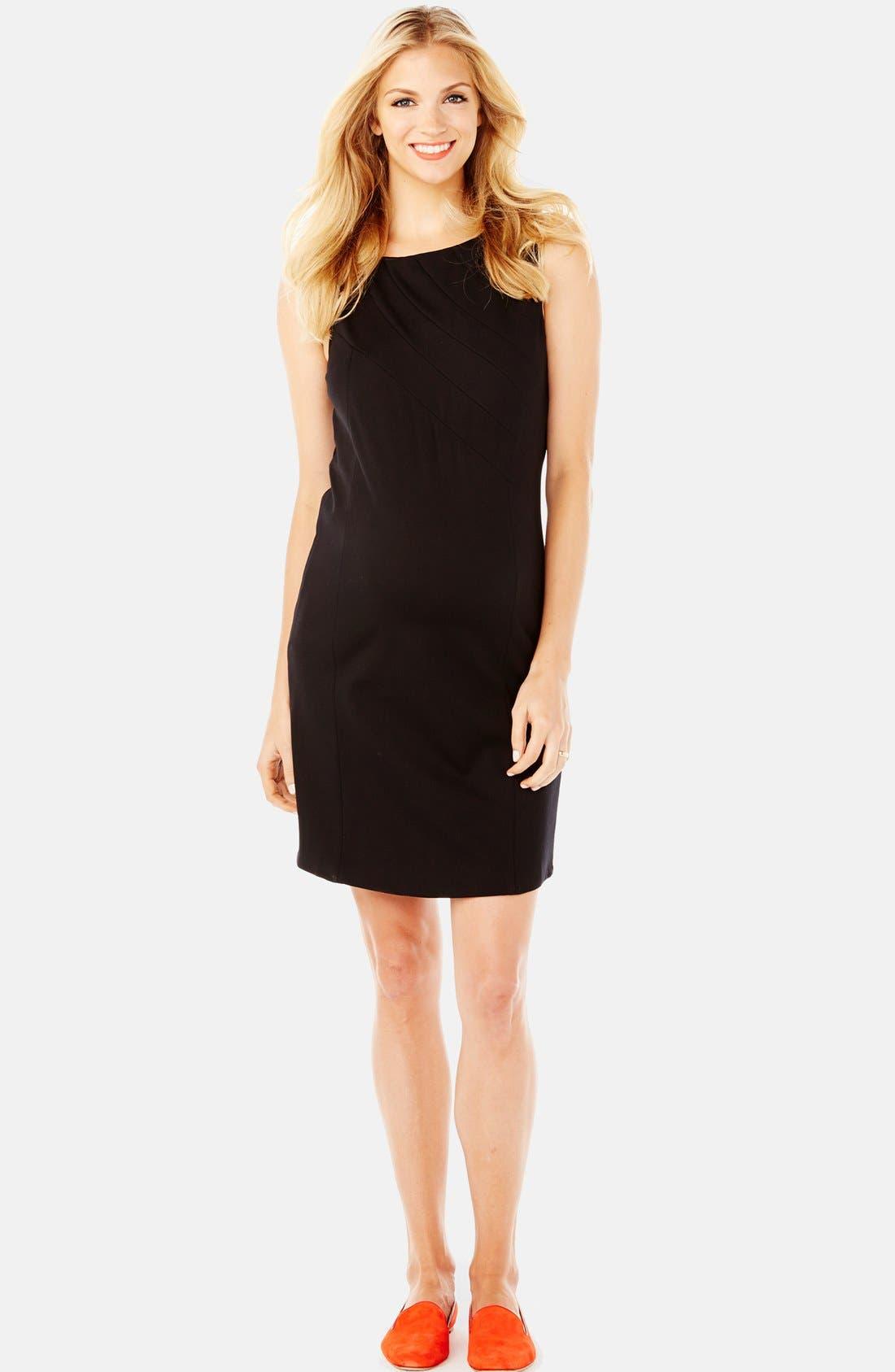 'Claire' Ponte Knit Maternity Dress,                         Main,                         color, Black