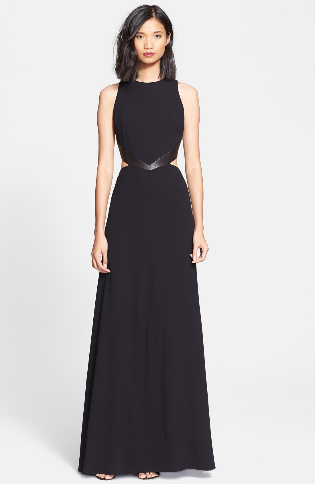 Main Image - Alice + Olivia 'Adel' Leather Trim Cutout Detail Gown