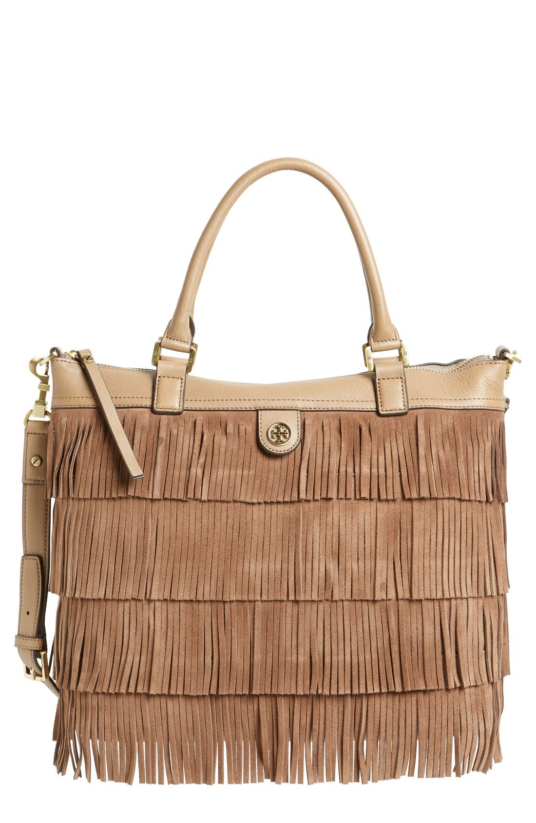 Main Image - Tory Burch Fringe Leather Tote