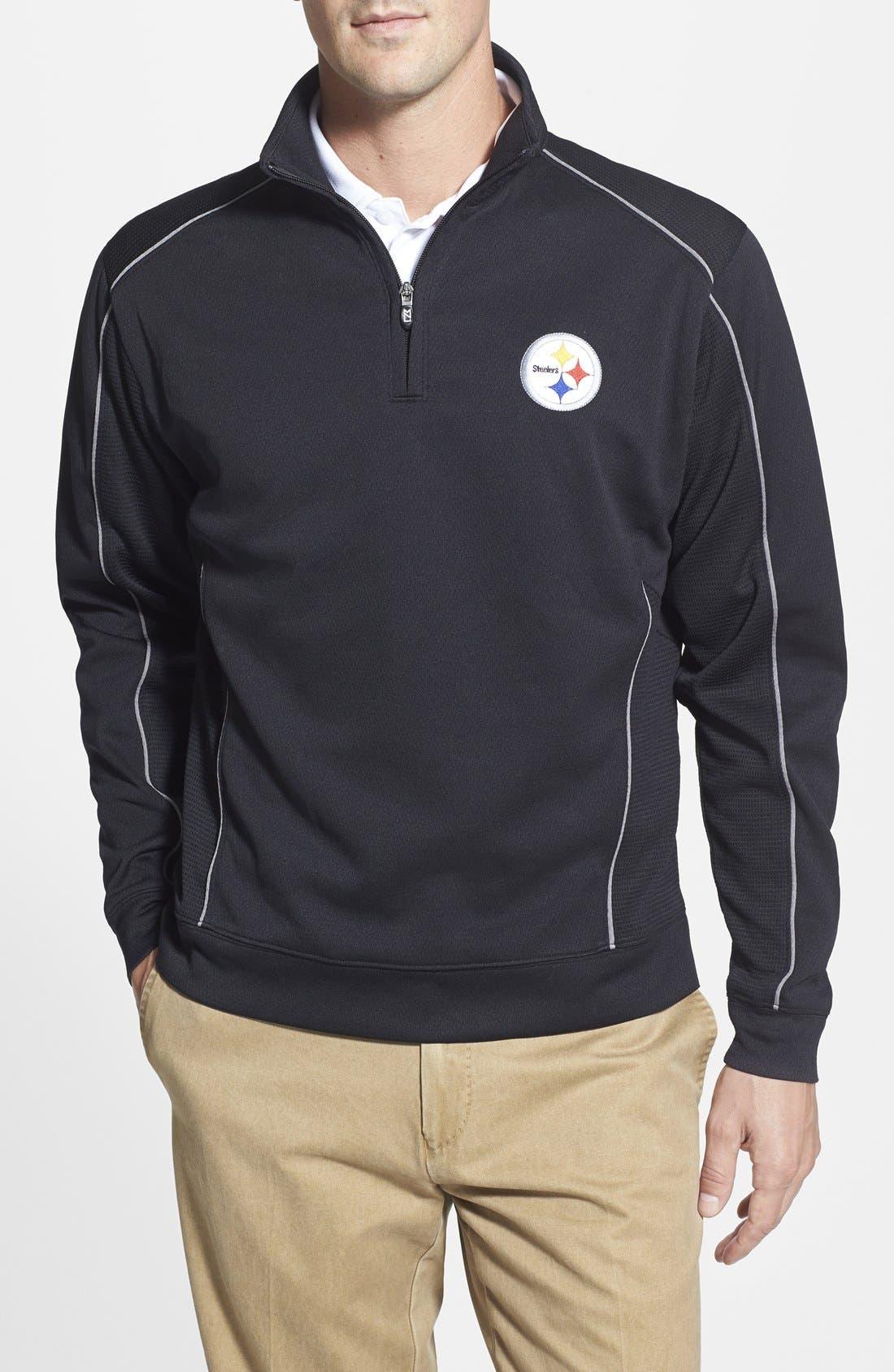 'Pittsburgh Steelers - Edge' DryTec Moisture Wicking Half Zip Pullover,                         Main,                         color, Black