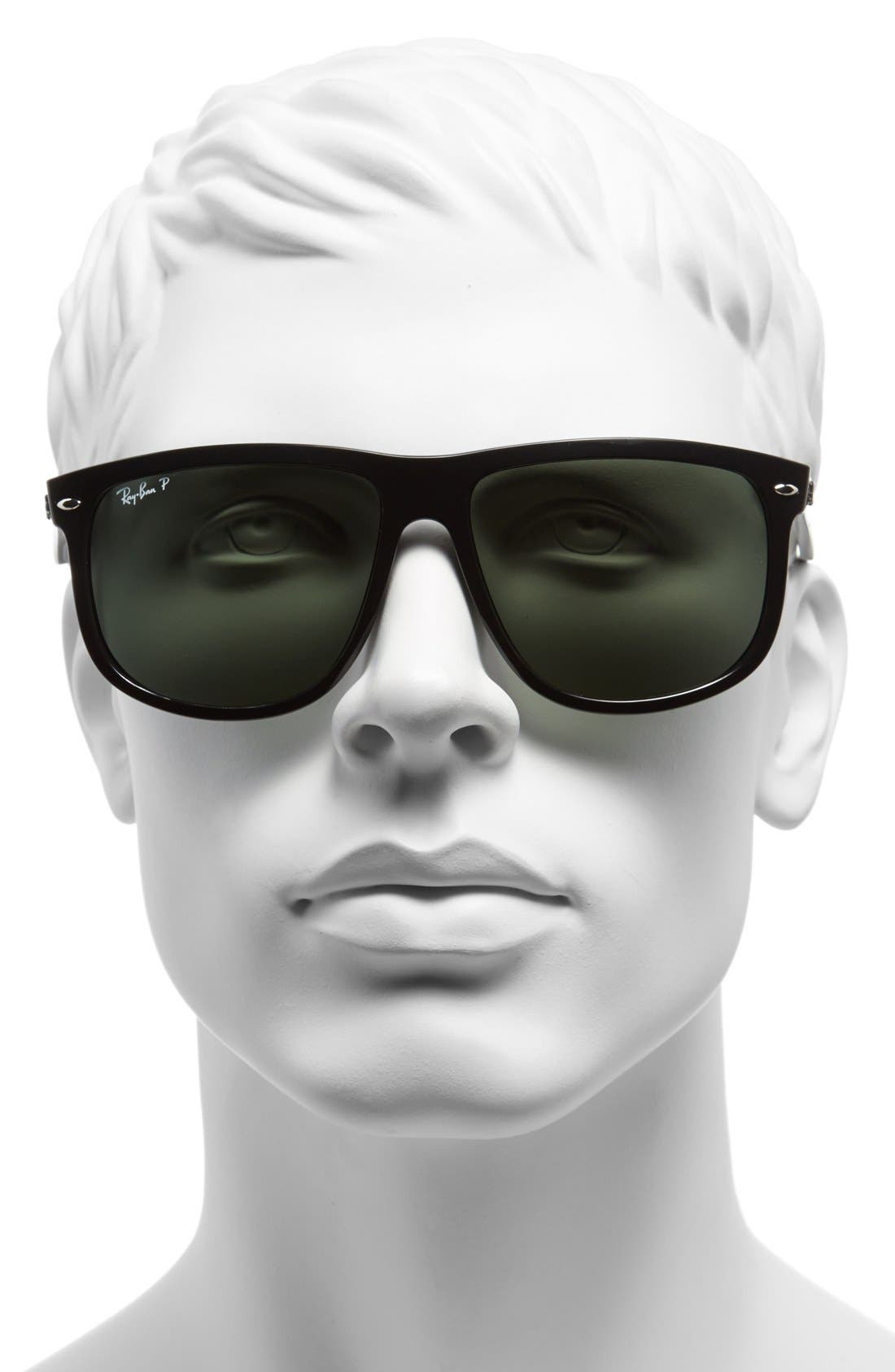 'Boyfriend' 60mm Polarized Sunglasses,                             Alternate thumbnail 2, color,                             Black/ Green P