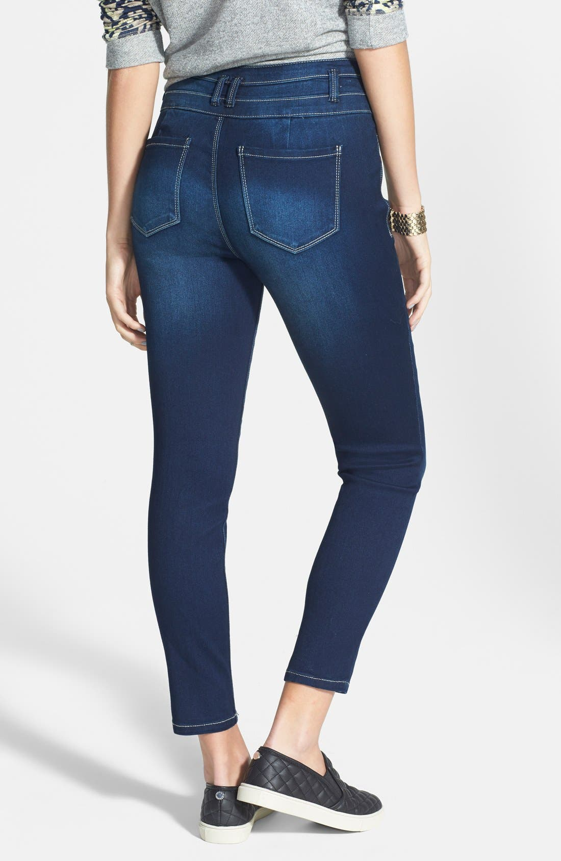 Alternate Image 2  - Fire Triple Button High Waist Skinny Jeans (Dark) (Juniors)