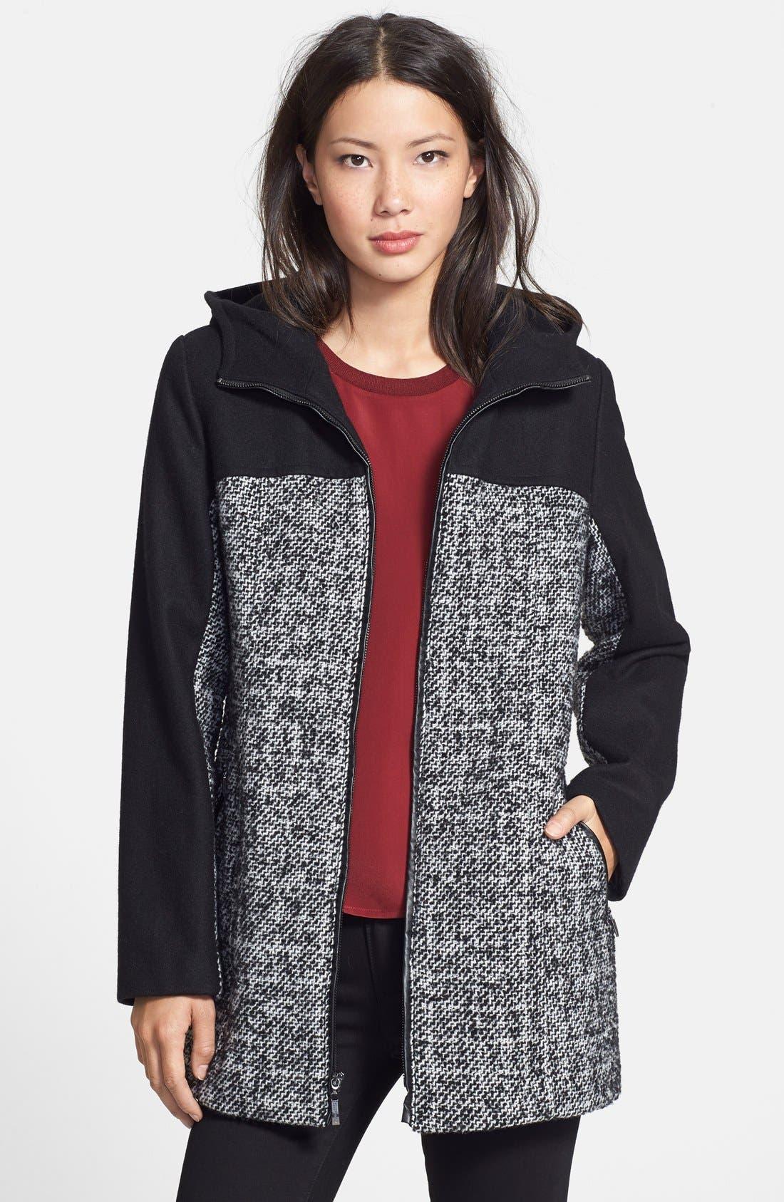 Main Image - Ellen Tracy Colorblock Tweed Car Coat (Regular & Petite) (Online Only)
