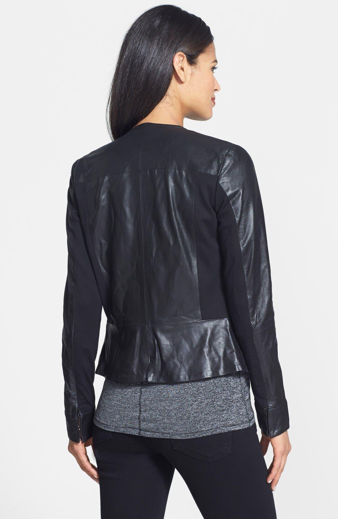 Alternate Image 2  - LaMarque Leather & Knit Moto Jacket