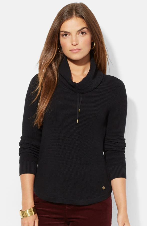 Lauren Ralph Lauren Drawstring Cowl Neck Sweater (Regular & Petite ...