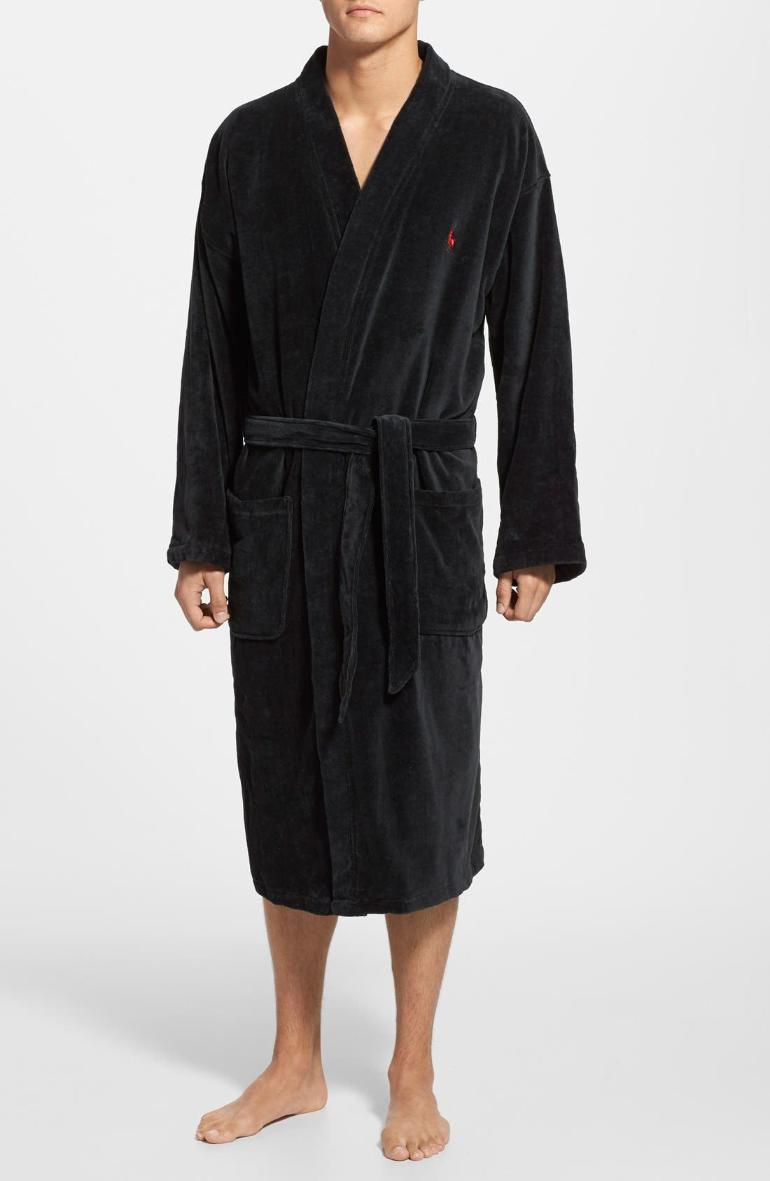 Cotton Fleece Robe,                         Main,                         color, Black
