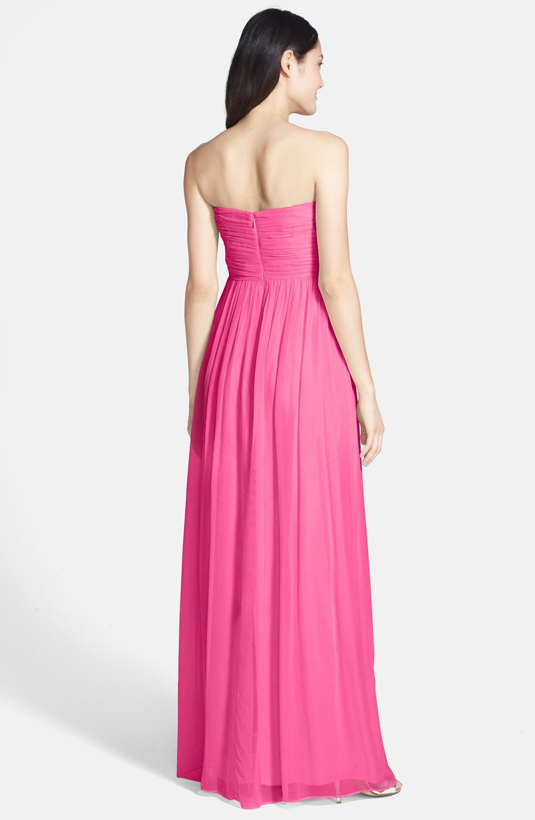 Alternate Image 2  - Donna Morgan 'Laura' Ruched Sweetheart Silk Chiffon Gown