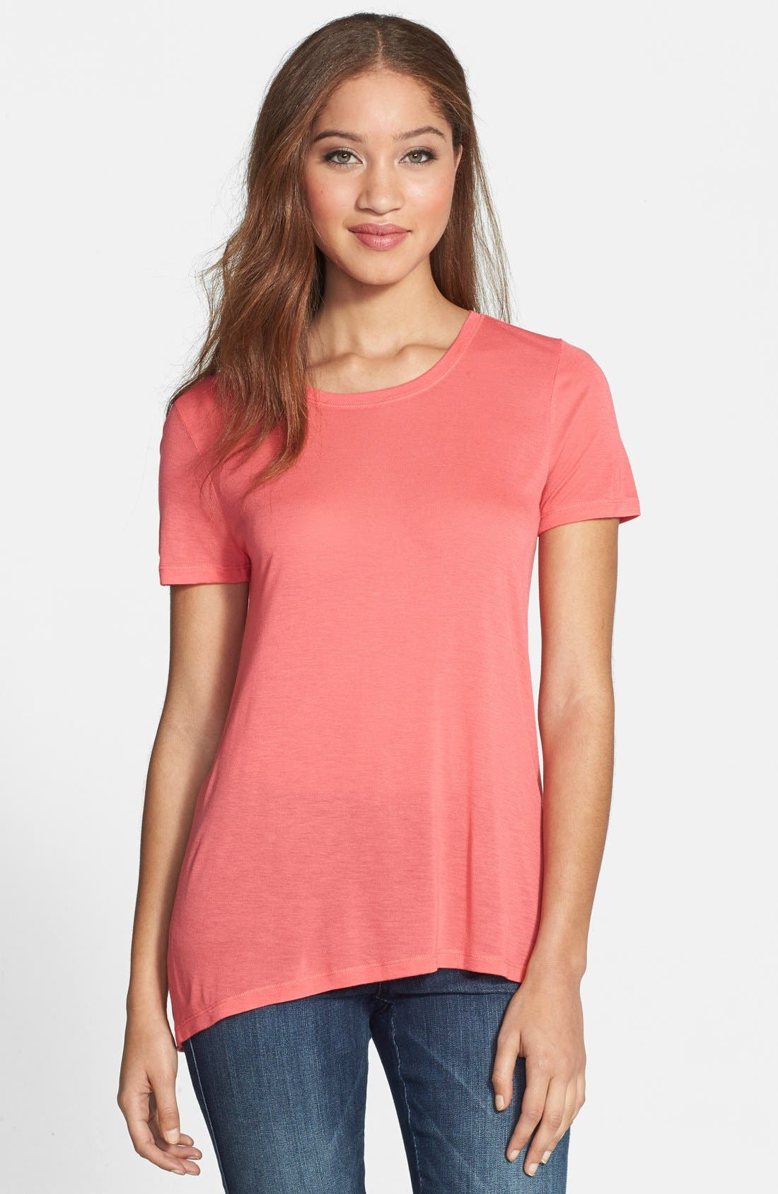 Alternate Image 1 Selected - Halogen® Lightweight High/Low Seamed Back Tee (Regular & Petite)