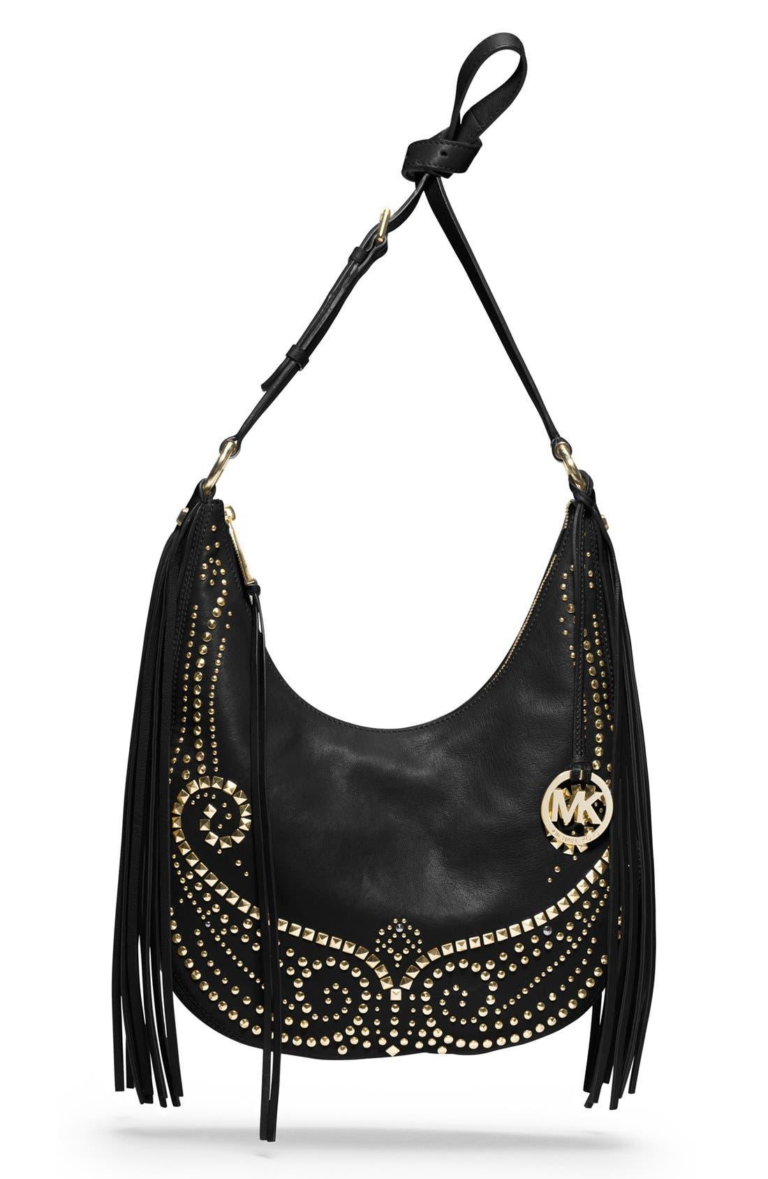 Main Image - MICHAEL Michael Kors 'Rhea' Studded Leather Shoulder Bag