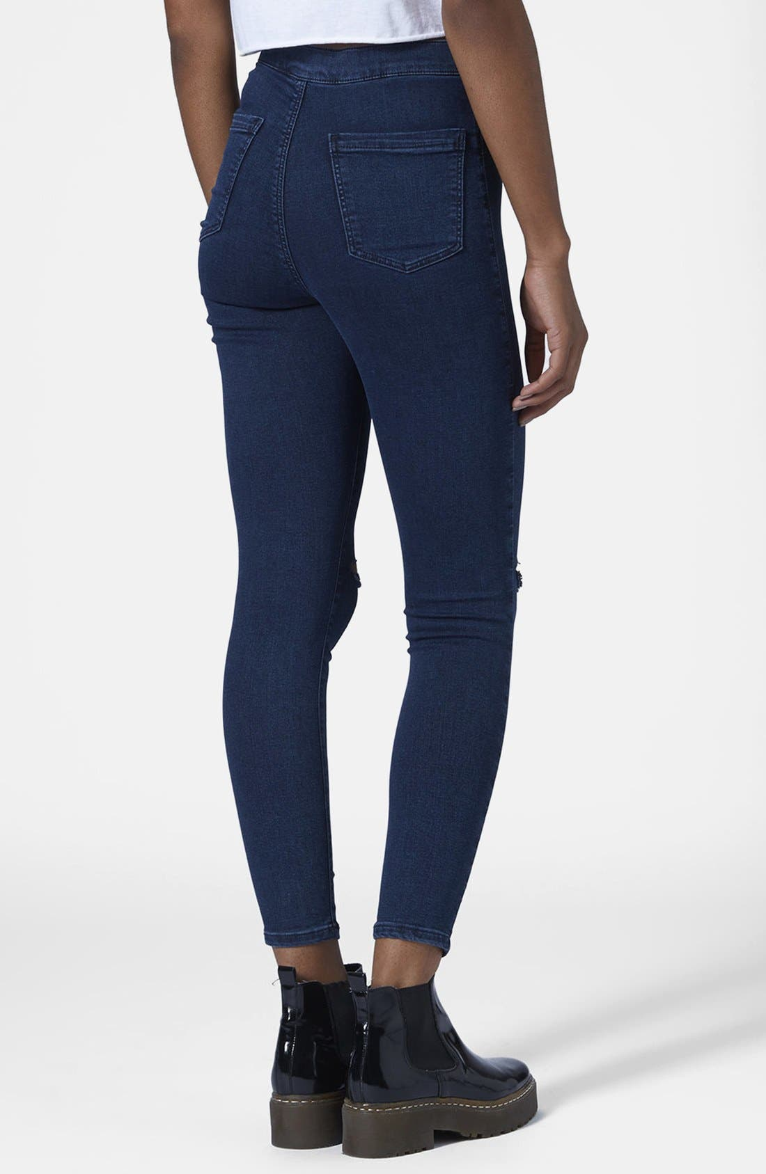Alternate Image 2  - Topshop Moto 'Joni' Ripped High Rise Skinny Jeans (Blue) (Petite)