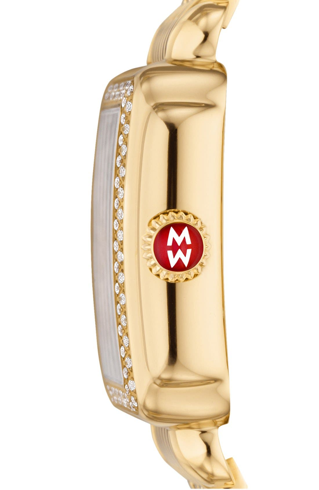 Alternate Image 3  - MICHELE 'Deco' Diamond & Mother-of-Pearl Dial Watch Case, 33mm x 35mm