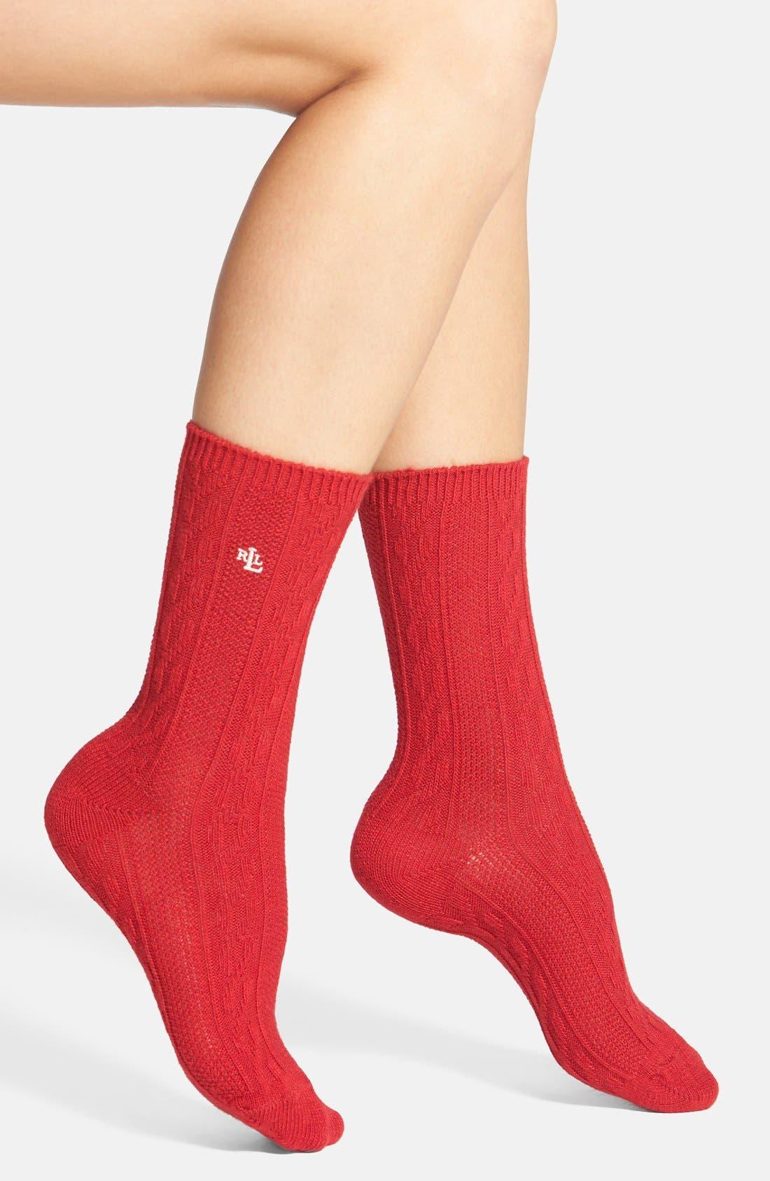 Main Image - Ralph Lauren Cable Knit Trouser Socks