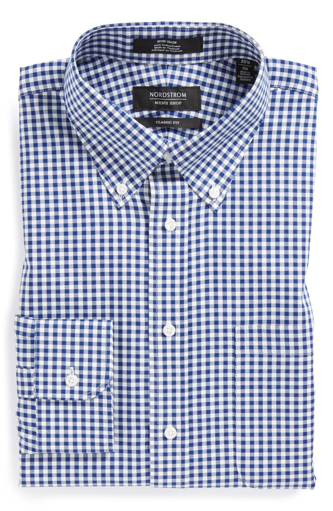 Classic Fit Non-Iron Gingham Dress Shirt,                             Alternate thumbnail 4, color,                             Navy- Patriot
