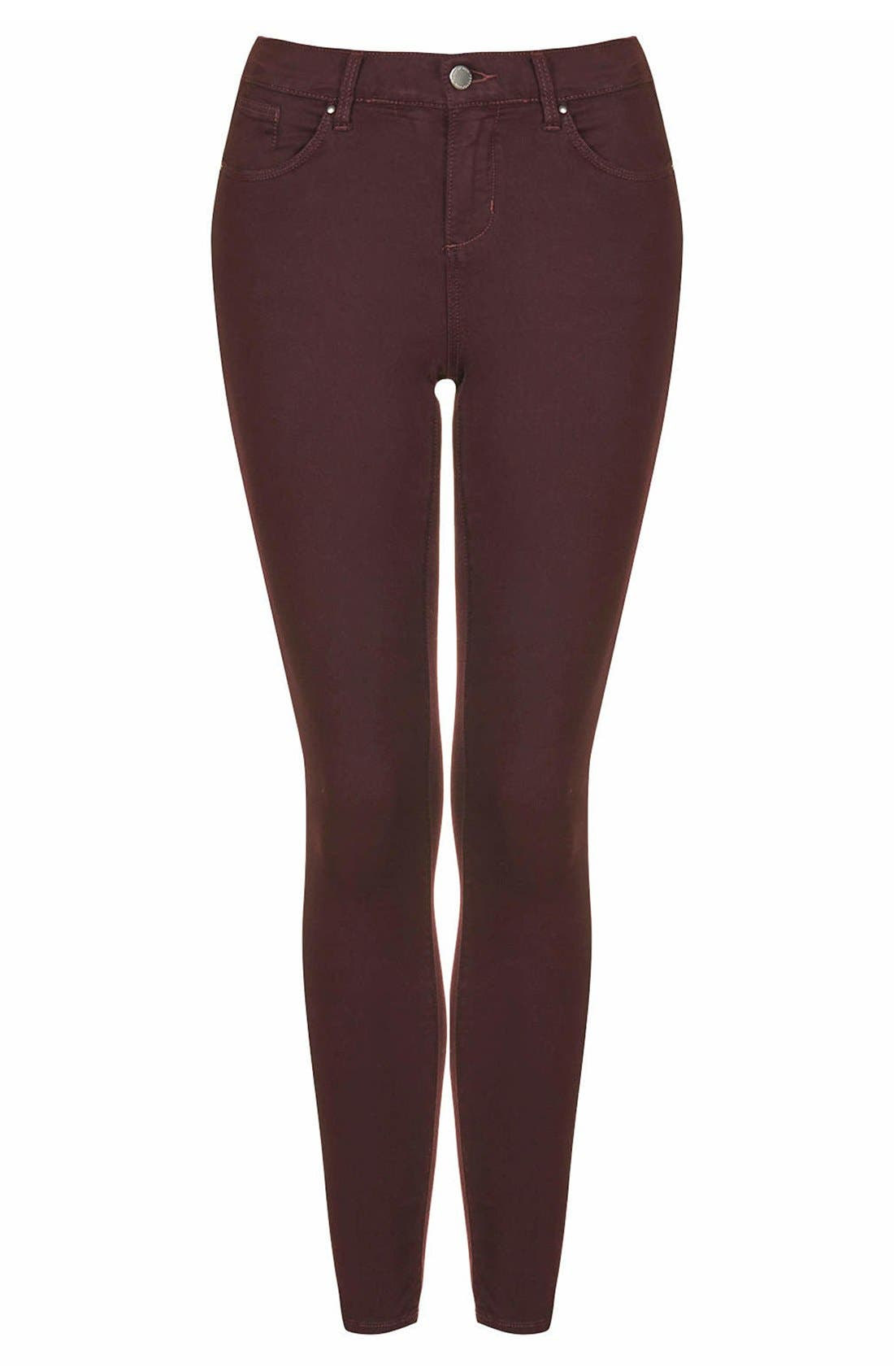 Alternate Image 3  - Topshop Moto 'Leigh' Stretch Ankle Skinny Jeans (Aubergine)
