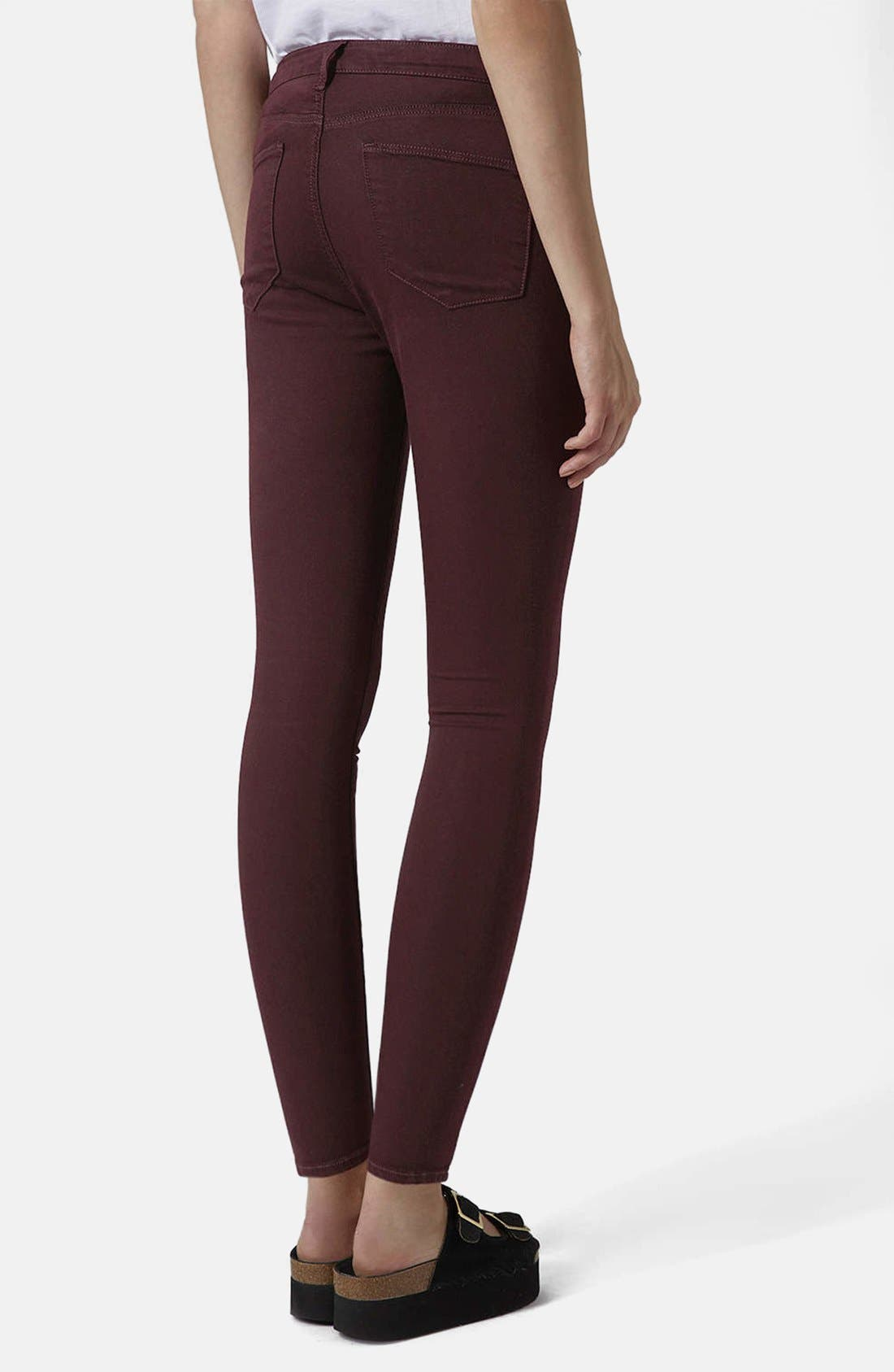 Alternate Image 2  - Topshop Moto 'Leigh' Stretch Ankle Skinny Jeans (Aubergine)